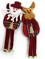 """Елочная игрушка 0642 """"Дед Мороз, Олень"""", с колокольчиками 23х8см"""