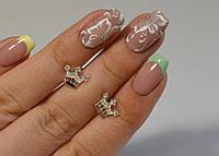 """Серебряные серьги-гвоздики с золотыми вставками """"Корона"""", фото 1"""