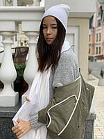 Шарф палантин женский зимний теплый шерстяной белый, фото 1