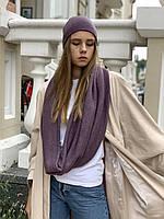 Снуд хомут женский теплый зимний  шерстяной шарф  лаванда, фото 1