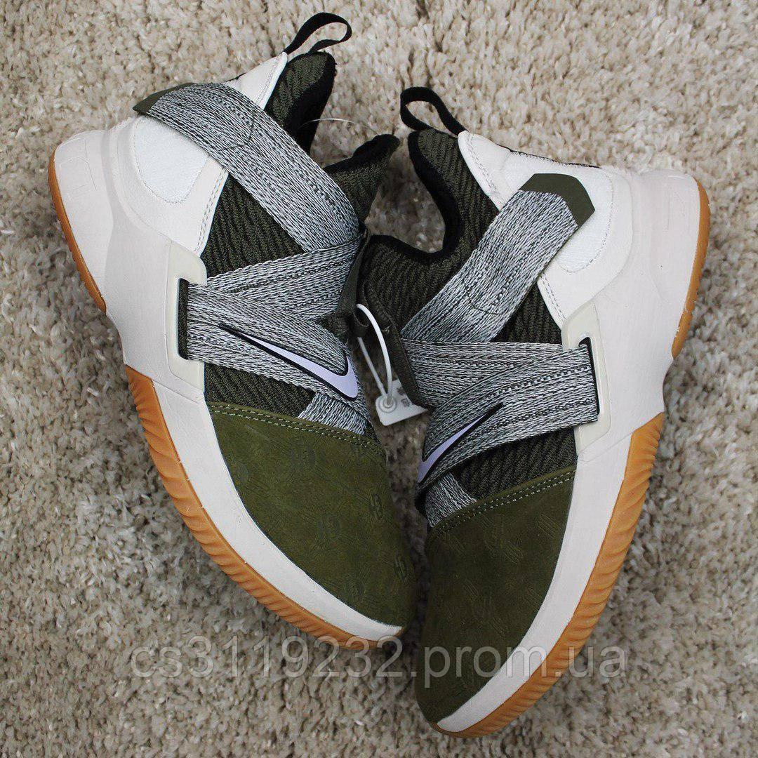 Мужские кроссовки  Nike Air Jordan LeBrone Green (бело-зеленые)