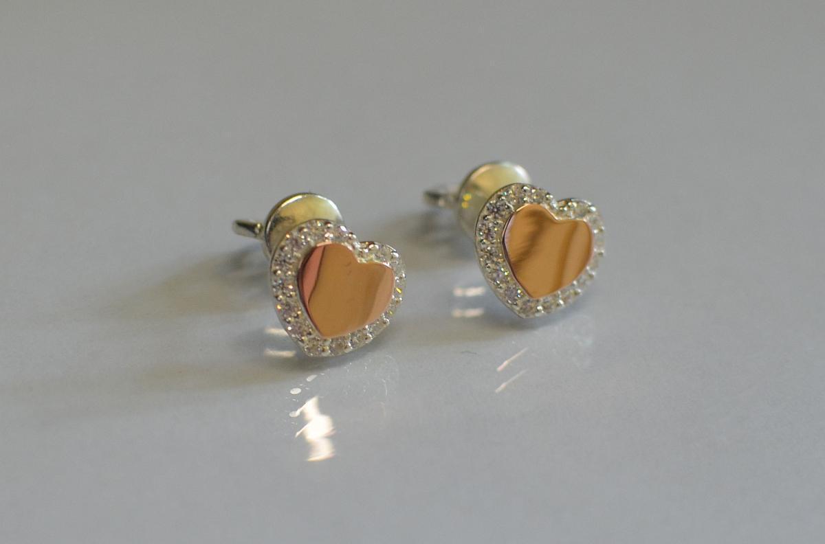 """Серьги-вкрутки серебряные с золотыми пластинами """"Сердце"""""""