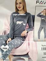 Теплая женская пижама на манжетах, цвета разные
