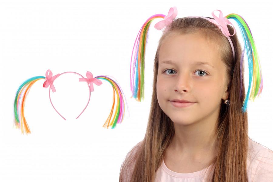 Ободок детский для девочки с цветными волосами