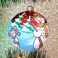 "Подарочный шар 100 мм ""Два снеговичка"", фото 1"