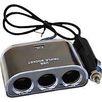 Зарядное устройство Atcom ES-09 (HUB 3*DC12 + 1*USB, 2.1A) (13151)