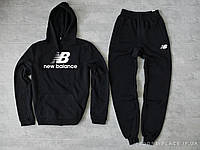 Мужской спортивный костюм New Balance черный (ЗИМА) с начесом, толстовка большая эмблема реплика