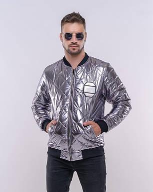 Модная серебристая мужская куртка, фото 2