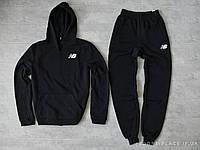 Мужской спортивный костюм New Balance черный (ЗИМА) с начесом, толстовка маленькая эмблема реплика