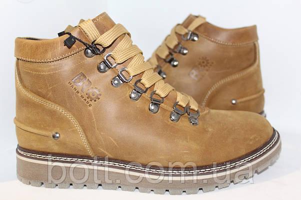 Ботинки зимние кожаные оливковые, фото 3