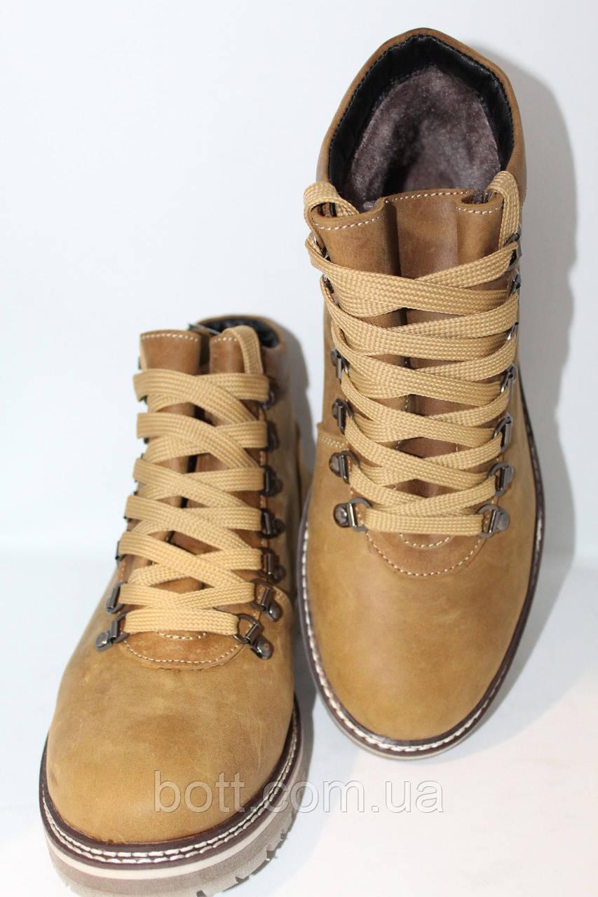 Ботинки зимние кожаные оливковые