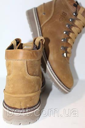 Ботинки зимние кожаные оливковые, фото 2