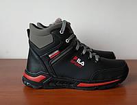 Чоловічі зимові черевики чорні спортивні прошиті теплі ( код 8399 ), фото 1