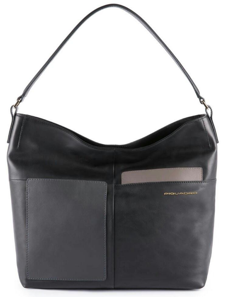 Женская сумка из натуральной кожи Piquadro Echo, черная