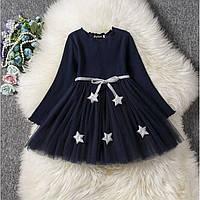 Платье детское со звездочками темно-синяя Рост: 100 см