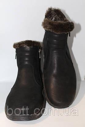 Черные кожаные зимние ботинки, фото 2