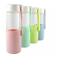 РАСПРОДАЖА!!! Стеклянная бутылочка для воды с силиконом Muse