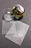 Прозрачный силиконовый штамп + скрапер с узорами + плпстина для стемпинга