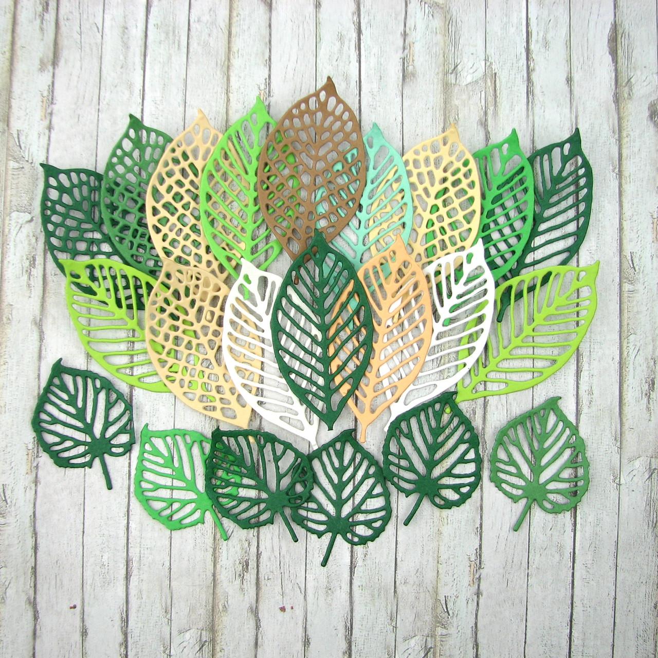 """Набор вырубки из плотного картона """"Листья"""", 22 элемента"""