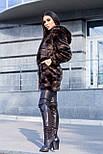 Женская шуба полоска из искусственного меха с капюшоном (цвет махагон) 39203, фото 8