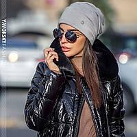 Женская модная шапка из ангоры,серого цвета