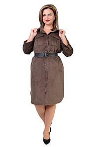 Платье-рубашка из микровельвета с 48 по 54 размер