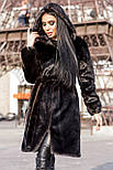 Жіноча шуба зі штучної норки з капюшоном 100 см довжиною h-390180, фото 9