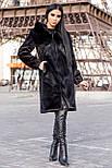 Жіноча шуба зі штучної норки з капюшоном 100 см довжиною h-390180, фото 3
