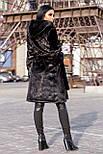 Жіноча шуба зі штучної норки з капюшоном 100 см довжиною h-390180, фото 2