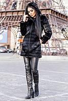 Черная женская шуба под норку полосками с капюшоном 3919210