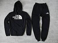 Мужской спортивный костюм The North Face черный (ЗИМА) с начесом, толстовка большая эмблема реплика