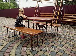 Стол 150х75 см + 2 Лавки 150х37 см (складной комплект садовой мебели)