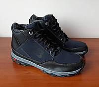 Чоловічі зимові черевики сині чорні спортивні прошиті теплі ( код 8377 ), фото 1