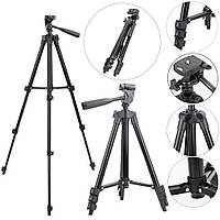 Штатив для видеотехники и смартфона с уровнем TRIPOD TF-3120, телескопический, черный
