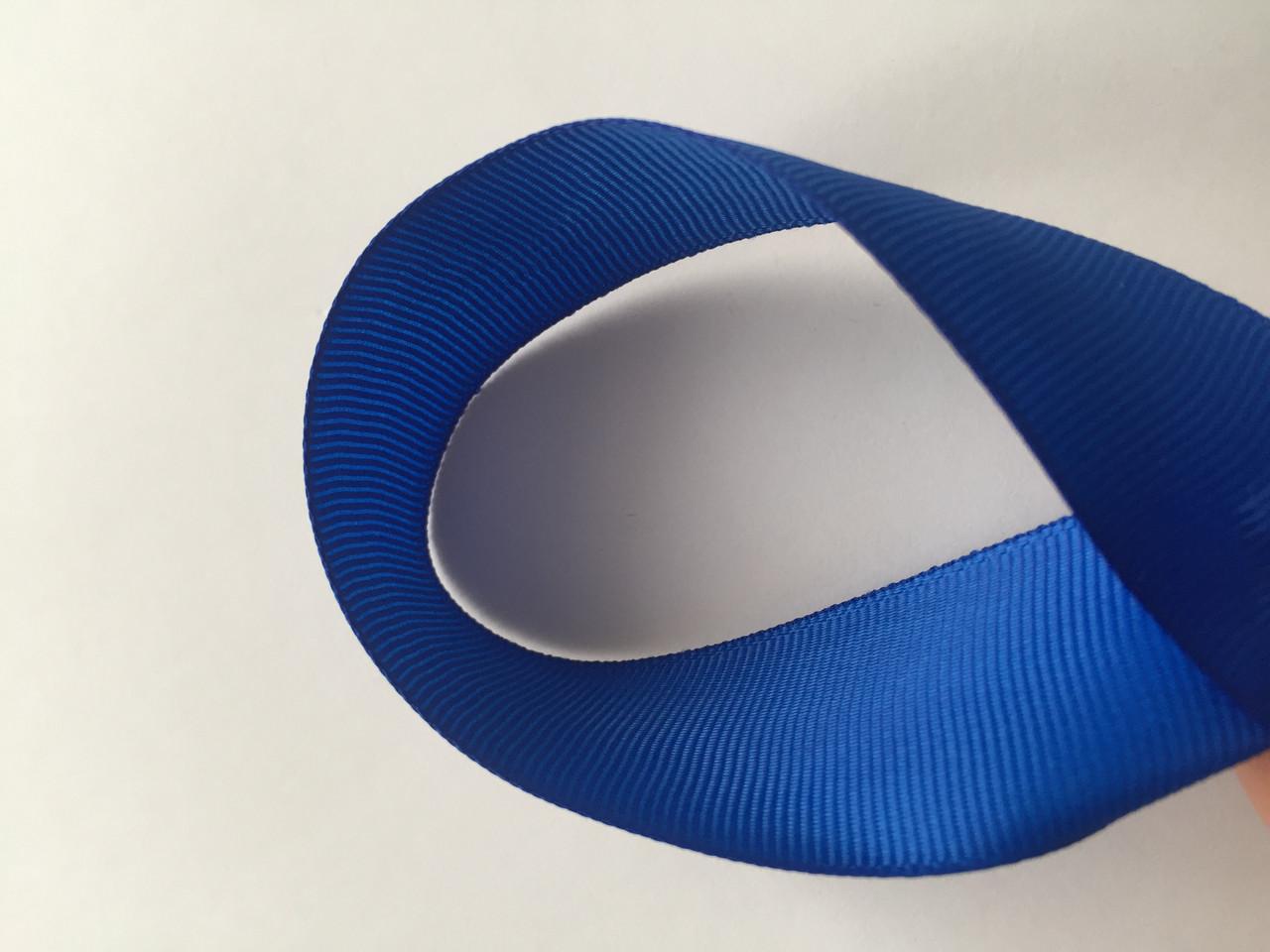Лента репсова 2.5 см  23 м синяя
