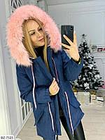 Женская Зимняя КУРТКА Джинсовая Парка с мехом на капюшоне