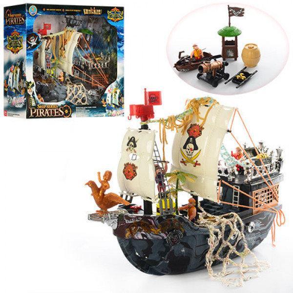 Игровой набор пираты - Пиратский корабль 40 см с лодкой, пушкой, сторожевой башней 50838 D