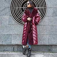 Зимнее пальто оверсайз с эко-мехом каракуля рр 44-52