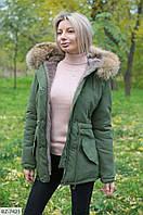 Женская Зимняя ПАРКА КУРТКА с натуральным мехом енота Черная, Бежевая, Хаки