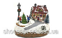 Новогодняя музыкальная миниатюра Дом и вращающаяся елка, световые эффекты