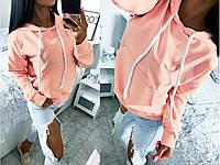 Толстовка женская. Кофта с капюшоном персикового цвета. Женская одежда.