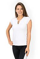 Белая спортивная футболка с V образным вырезом, фото 1