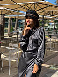 Сукня жіноча шовкове графіт, хакі, шампань, фото 3