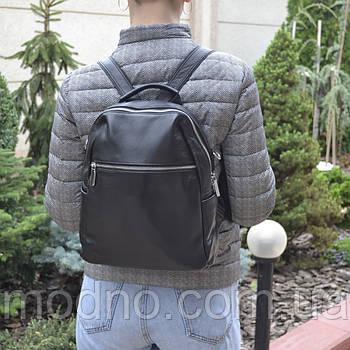 Жіночий шкіряний міський рюкзак з плечовим ремінцем чорний