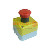 Пост кнопка АВАРИЙНЫЙ ПК722 10A 230/400 B (1 красный грибок, корпус - желтый) с фиксацией Electro