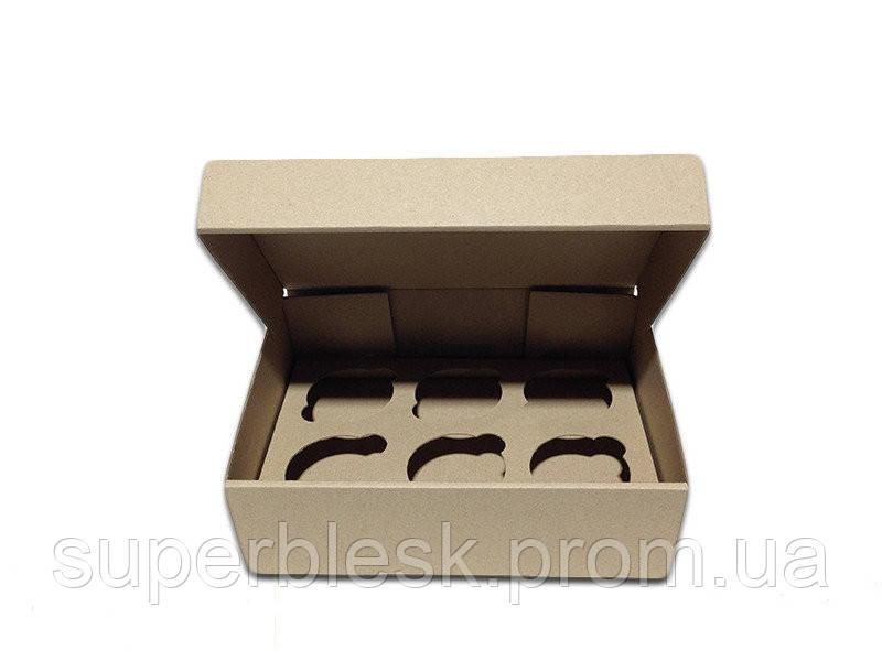 Коробка для капкейков, кексов и маффинов 6 шт 247*170*80 (Бурый)