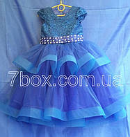 Детское платье бальное Фиерия 4-5 лет Синее Опт и Розница