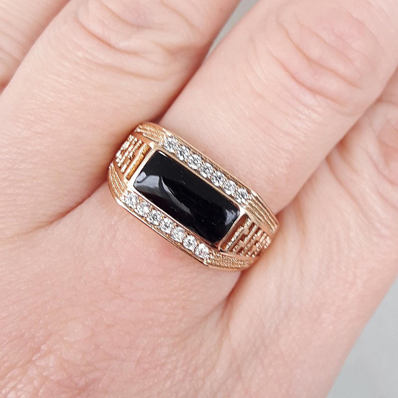 Перстень xuping 21,22р 1см печатка мужская медицинское золото позолота 18К м269