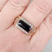 Перстень xuping 21,22р 1см печатка мужская медицинское золото позолота 18К м269, фото 1