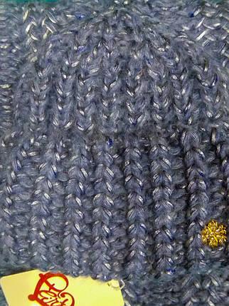 Комплект (шапка и снуд-хомут) Flirt Манго One Size джинс, фото 2